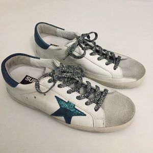 Golden Goose superstar sneakers size 38 teal white